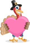 Thanksgiving Turkey Cartoon Vector Character AKA Mr. Turkey McFarm - Love