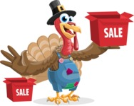 Thanksgiving Turkey Cartoon Vector Character AKA Mr. Turkey McFarm - Sale 1