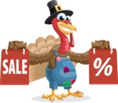 Thanksgiving Turkey Cartoon Vector Character AKA Mr. Turkey McFarm - Sale 2