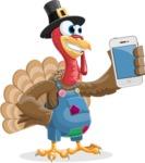Thanksgiving Turkey Cartoon Vector Character AKA Mr. Turkey McFarm - iPhone