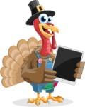 Thanksgiving Turkey Cartoon Vector Character AKA Mr. Turkey McFarm - iPad 1