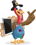 Thanksgiving Turkey Cartoon Vector Character AKA Mr. Turkey McFarm - iPad 3