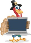 Thanksgiving Turkey Cartoon Vector Character AKA Mr. Turkey McFarm - Laptop 2