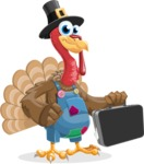 Thanksgiving Turkey Cartoon Vector Character AKA Mr. Turkey McFarm - Briefcase 1