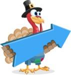 Thanksgiving Turkey Cartoon Vector Character AKA Mr. Turkey McFarm - Pointer 2