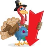 Thanksgiving Turkey Cartoon Vector Character AKA Mr. Turkey McFarm - Pointer 3
