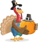 Thanksgiving Turkey Cartoon Vector Character AKA Mr. Turkey McFarm - Pumpkin 3