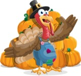 Thanksgiving Turkey Cartoon Vector Character AKA Mr. Turkey McFarm - Pumpkin 4