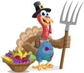 Thanksgiving Turkey Cartoon Vector Character AKA Mr. Turkey McFarm - Basket 1