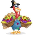 Thanksgiving Turkey Cartoon Vector Character AKA Mr. Turkey McFarm - Basket 2