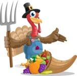 Thanksgiving Turkey Cartoon Vector Character AKA Mr. Turkey McFarm - Basket 3