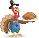 Thanksgiving Turkey Cartoon Vector Character AKA Mr. Turkey McFarm - Thanksgiving turkey