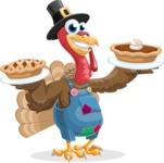 Thanksgiving Turkey Cartoon Vector Character AKA Mr. Turkey McFarm - Pumpkin pies