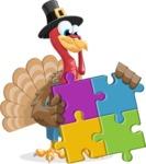 Thanksgiving Turkey Cartoon Vector Character AKA Mr. Turkey McFarm - Puzzle