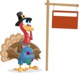 Thanksgiving Turkey Cartoon Vector Character AKA Mr. Turkey McFarm - Sign 9