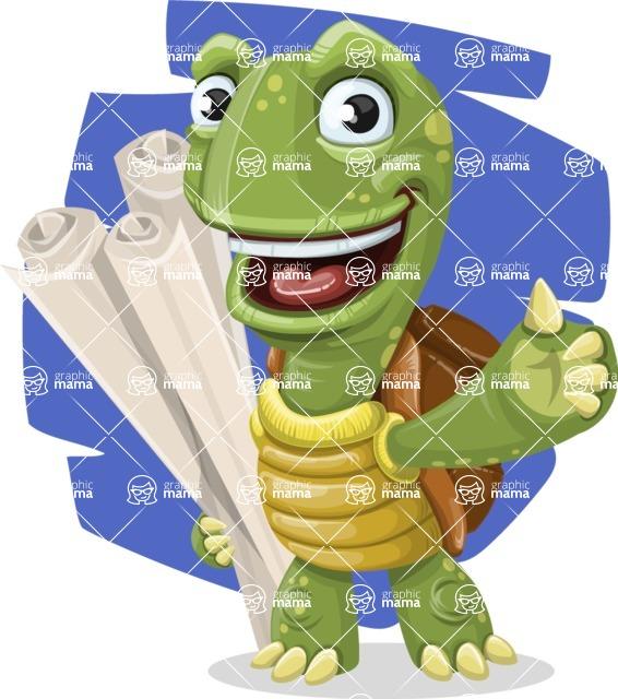 Turtle Cartoon Vector Character AKA Juan the Joyful - Shape 10