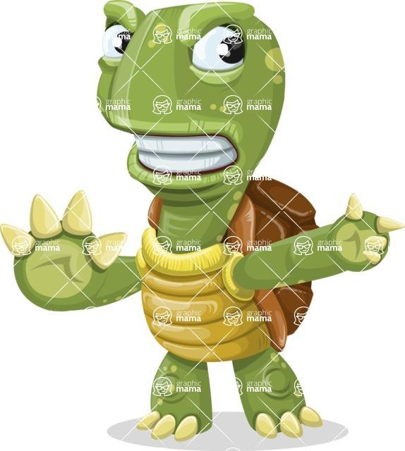 Turtle Cartoon Vector Character AKA Juan the Joyful - Direct Attention 2