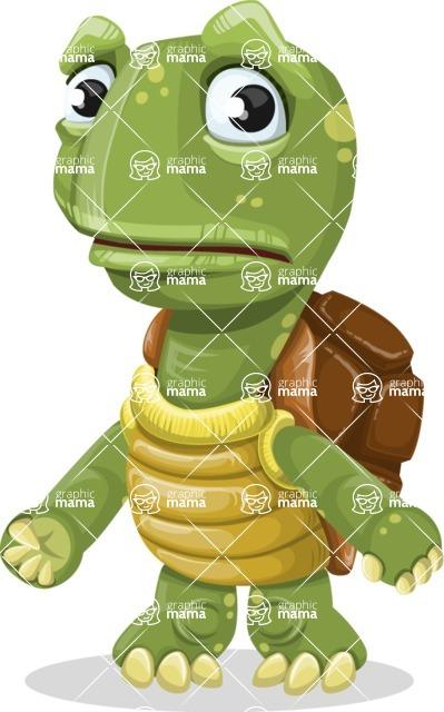 Turtle Cartoon Vector Character AKA Juan the Joyful - Sad