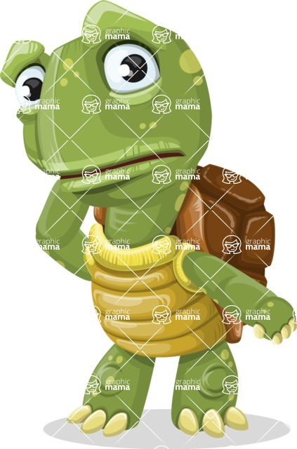 Turtle Cartoon Vector Character AKA Juan the Joyful - Confused