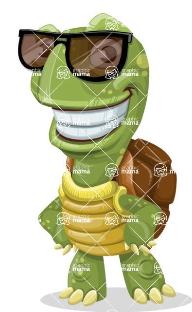 Turtle Cartoon Vector Character AKA Juan the Joyful - Sunglasses
