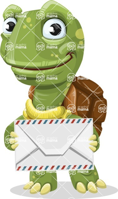 Turtle Cartoon Vector Character AKA Juan the Joyful - Letter