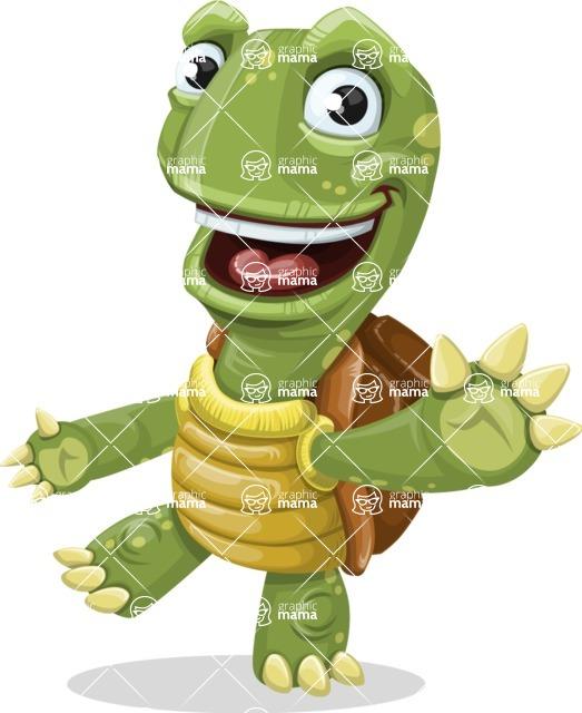 Turtle Cartoon Vector Character AKA Juan the Joyful - Wave