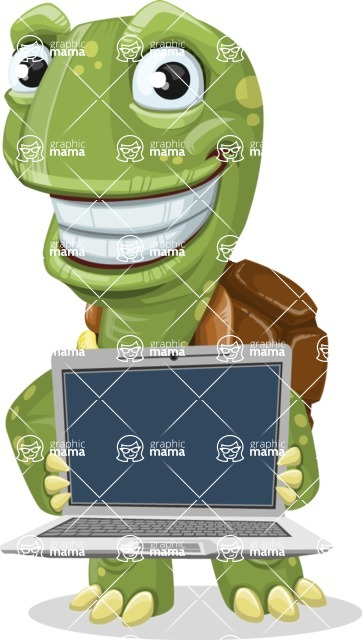 Turtle Cartoon Vector Character AKA Juan the Joyful - Laptop 2