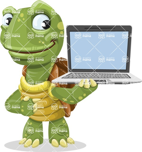 Turtle Cartoon Vector Character AKA Juan the Joyful - Laptop 3