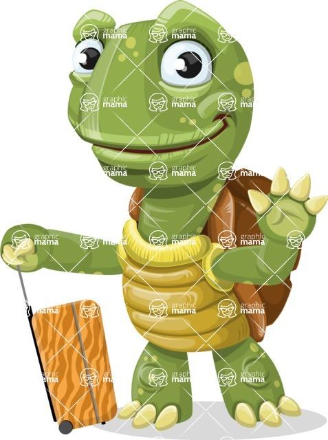 Turtle Cartoon Vector Character AKA Juan the Joyful - Travel 1