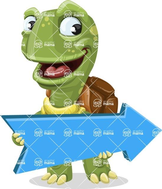 Turtle Cartoon Vector Character AKA Juan the Joyful - Pointer 2