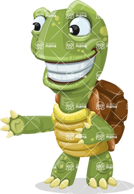 Turtle Cartoon Vector Character AKA Juan the Joyful - Show 2