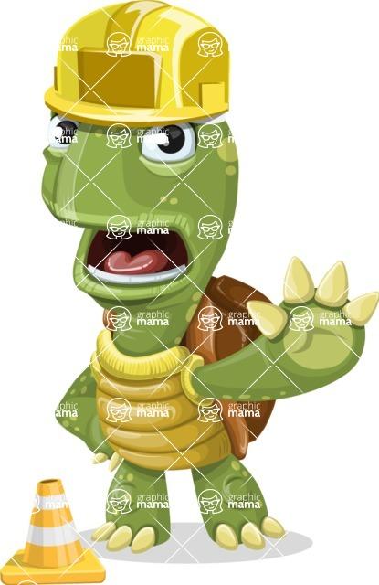 Turtle Cartoon Vector Character AKA Juan the Joyful - Under Construction 1