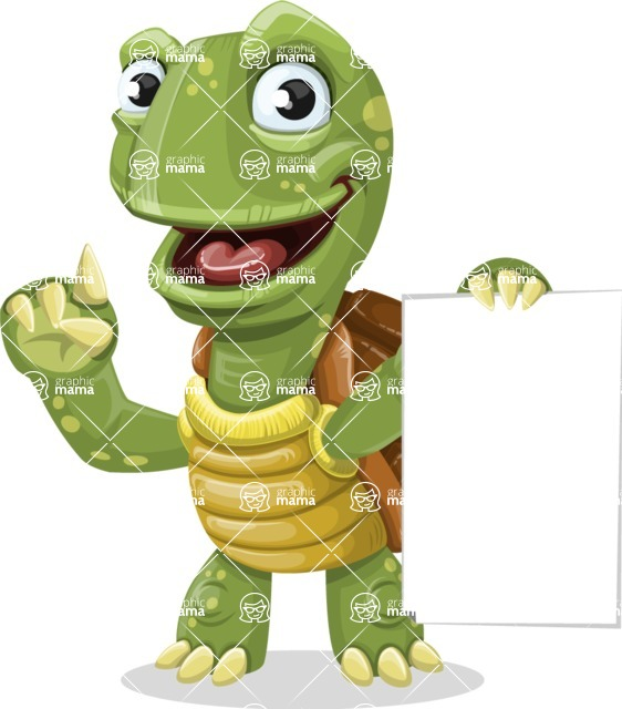 Turtle Cartoon Vector Character AKA Juan the Joyful - Sign 2