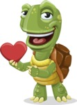 Turtle Cartoon Vector Character AKA Juan the Joyful - Show Love