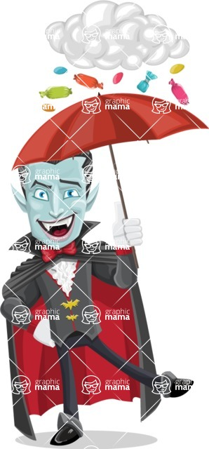 Halloween Vampire Vector Cartoon Character - and Candies Raining Concept