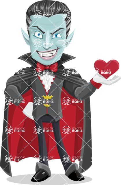 Halloween Vampire Vector Cartoon Character - Being Cute with Love Heart