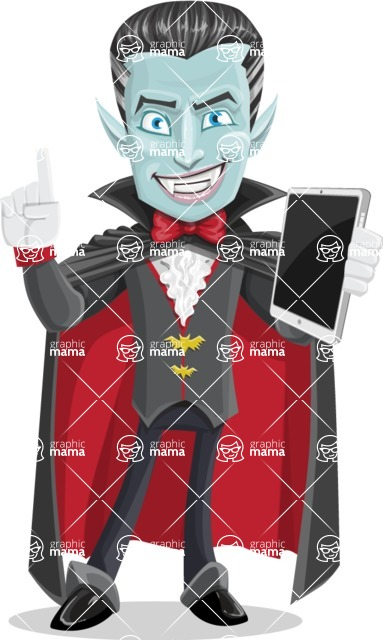 Halloween Vampire Vector Cartoon Character - Being Modern with a Tablet