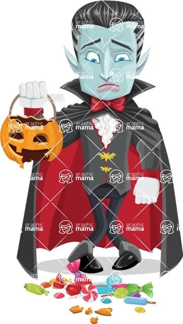 Halloween Vampire Vector Cartoon Character - Being Sad With Broken Pumpkin Lantern