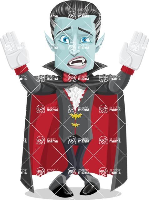 Halloween Vampire Vector Cartoon Character - Being Scared