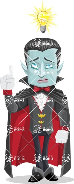 Halloween Vampire Vector Cartoon Character - Being Smart with an Idea