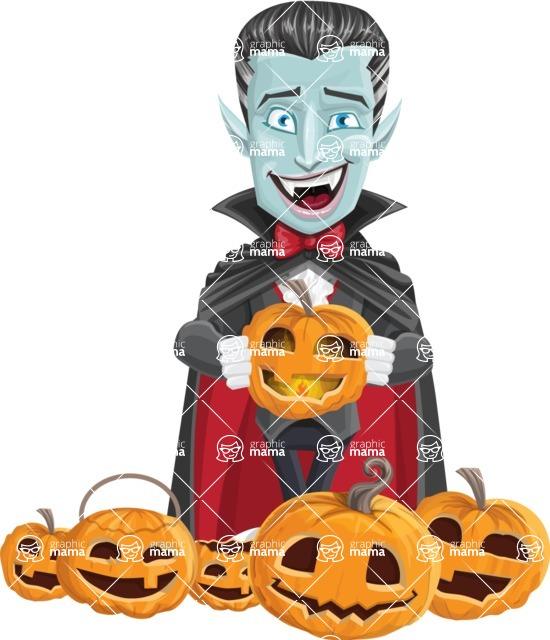 Halloween Vampire Vector Cartoon Character - Celebrating Halloween With Pumpkins