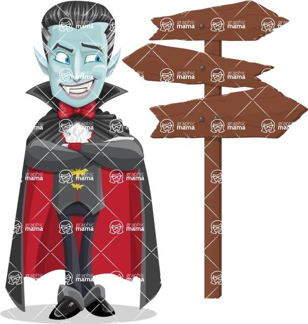 Halloween Vampire Vector Cartoon Character - Choosing a Way To Go