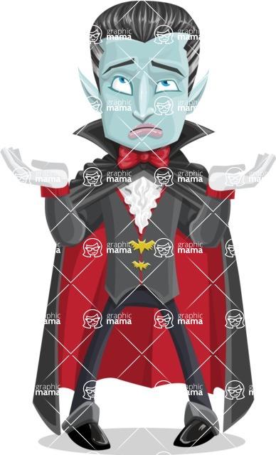Halloween Vampire Vector Cartoon Character - Feeling Confused