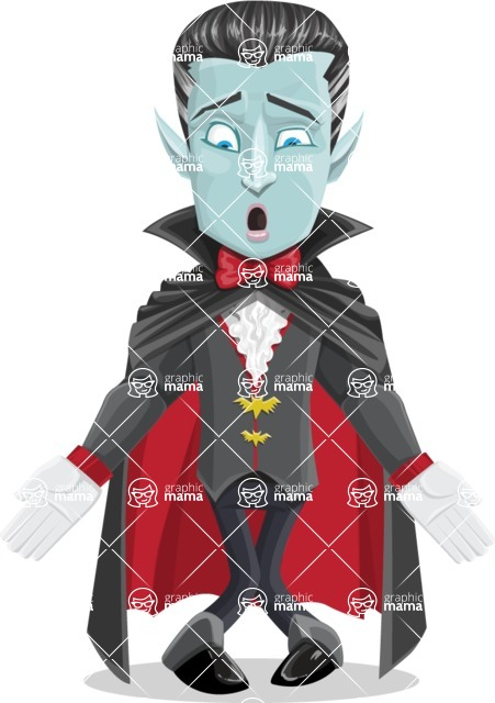 Halloween Vampire Vector Cartoon Character - Feeling Lost
