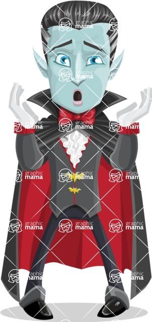 Halloween Vampire Vector Cartoon Character - Feeling Shocked