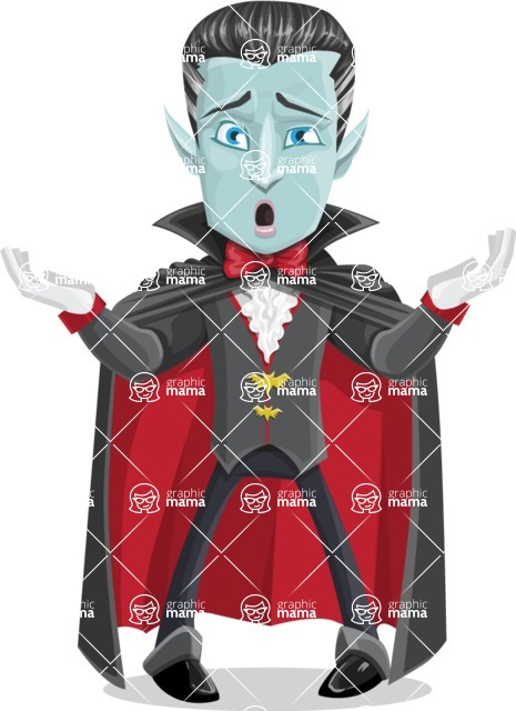 Halloween Vampire Vector Cartoon Character - Feeling Sorry