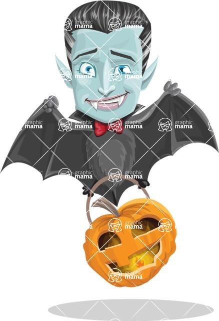Halloween Vampire Vector Cartoon Character - Flying As a Bat
