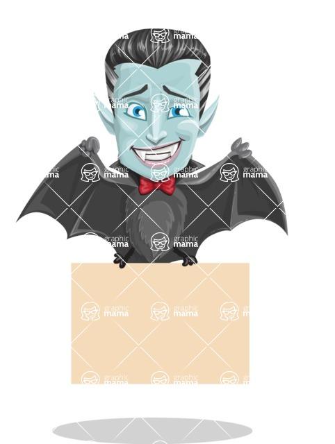 Halloween Vampire Vector Cartoon Character - Holding a Blank Halloween Sign