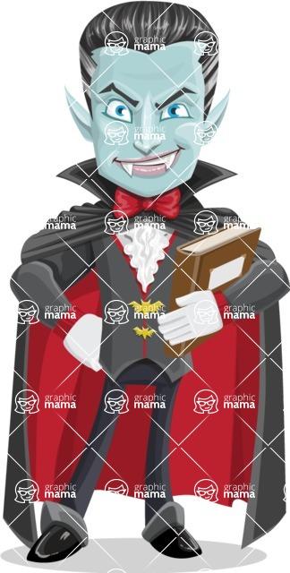 Halloween Vampire Vector Cartoon Character - Holding a Book