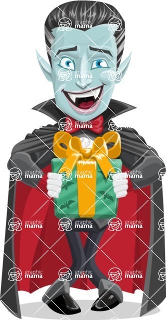 Halloween Vampire Vector Cartoon Character - Holding a Halloween Gift